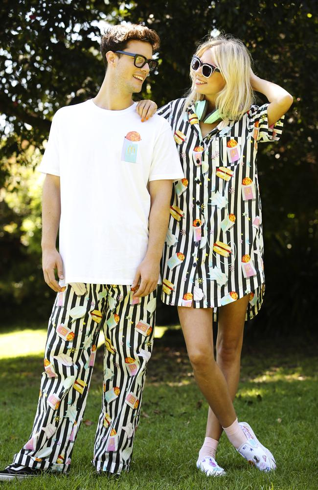 The button-up dress, pyjama trousers and T-shirts make up the Brekkiewear range. Picture: Justin Lloyd
