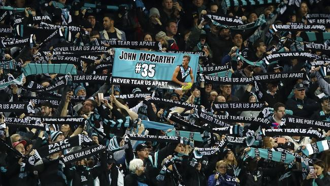 Port Adelaide fans at Adelaide Oval. Picture: Sarah Reed