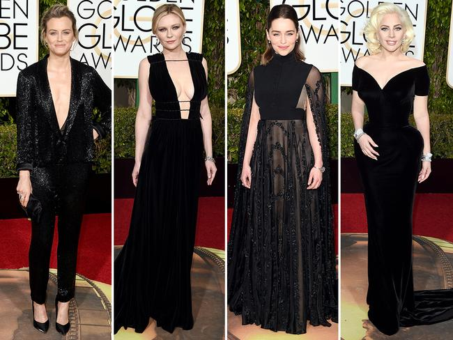Back to black ... Taylor Schilling, Kirsten Dunst, Emelia Clarke and Lady Gaga. Picture: Getty