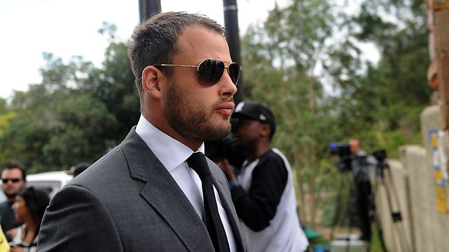 "South African Springbok rugby player Francois Hougaard attends the late South African model Reeva Steenkamp's funeral ceremony at the crematorium building in Port Elizabeth on February 19, 2013 after Steenkamp, 29, was shot four times in the early hours of February 14, 2013 by a 9mm pistol owned by South African sporting hero Oscar Pistorius. South African prosecutors on Tuesday told a bail hearing that Oscar Pistorius was guilty of ""premeditated murder"" in the Valentine's Day killing of his model girlfriend at his upscale home. AFP PHOTO / ALEXANDER JOE"