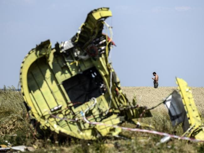 A man stands at the crash site of MH17. AFP PHOTO/ BULENT KILIC
