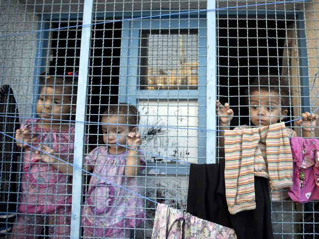 Displaced Palestinian children take shelter at the Abu Hussien United Nations school in the Jabalia refugee camp in the northern Gaza Strip. Picture: AFP