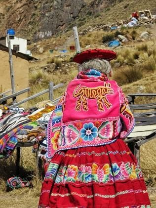 A La Raya resident dressed in the traditional Peruvian clothes. Picture: Sarah Nicholson