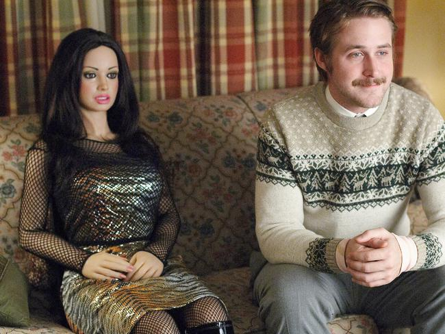 "Ryan Gosling, with his companion in the film ""Lars and the Real Girl""."