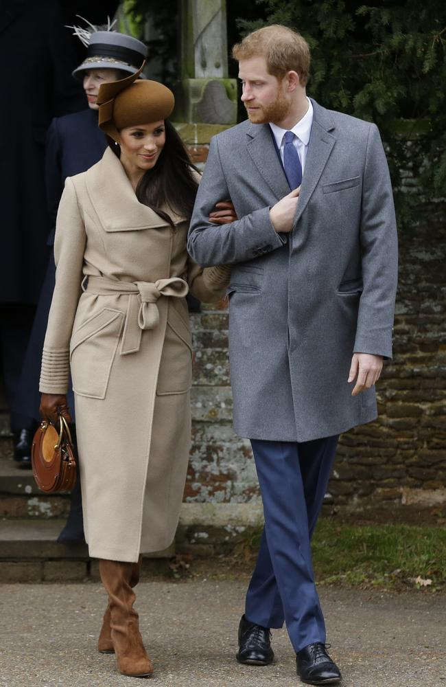Prince Harry and Meghan Markle attend the traditional Christmas Day church service. Picture: AP