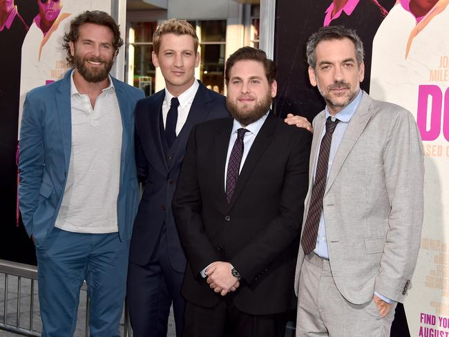 Bradley Cooper, Miles Teller, Jonah Hill and Todd Phillips attend the premiere of War Dogs in Hollywood, California. Picture: Alberto E. Rodriguez/Getty Images/AFP