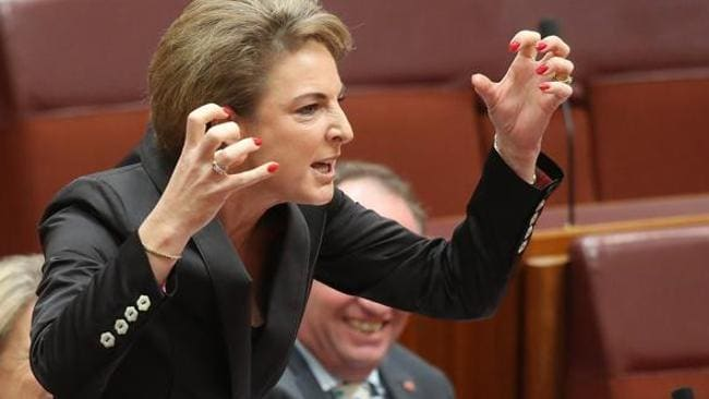 """Chalice of blood"": Senator Michaelia Cash accuses former Senator Wong in the Senate of having blood on her hands by voting for Kevin Rudd in the June leadership ballot. Picture: Paul Ramage."