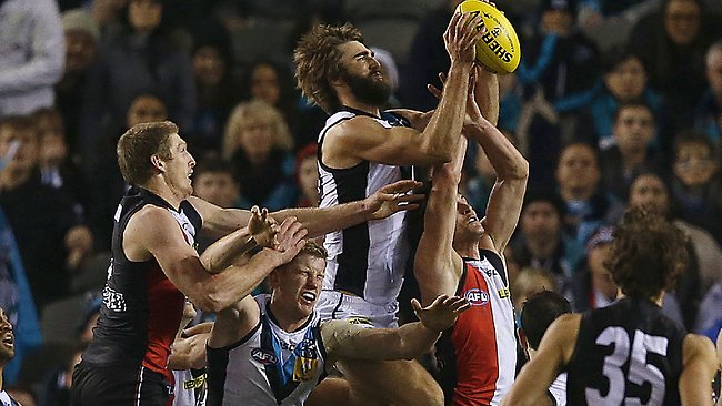 Justin Westhoff takes a towering mark in defence late in the final quarter. Picture: Wayne Ludbey