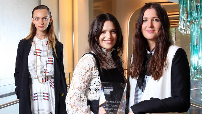 Designers Tess (centre) and Beth MacGraw (right) from the macgraw label with model Cassie Lapthorne: the design duo won the Tiffany & Co National Designer Award and will show at fashion week Pic: Aaron Francis/The Australian