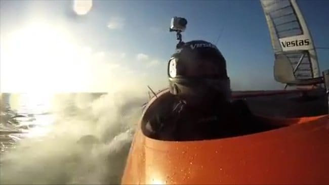 The view from Sailrocket as on-board cameras capture him sailing through waters off Namibia at a world-record pace.