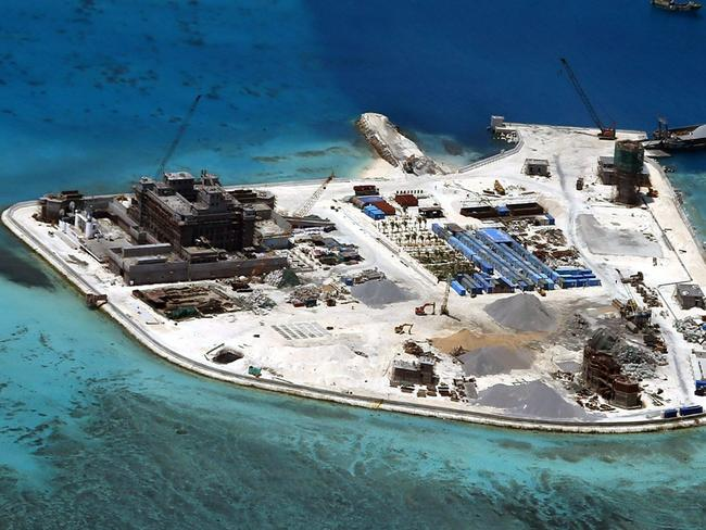 Forward base ... An aerial view of construction at Mabini (Johnson) Reef by China, in the disputed Spratley Islands, in the south China Sea. Picture: EPA