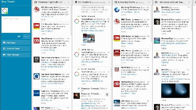 Use Tweetdeck to run more than one Twitter feed.