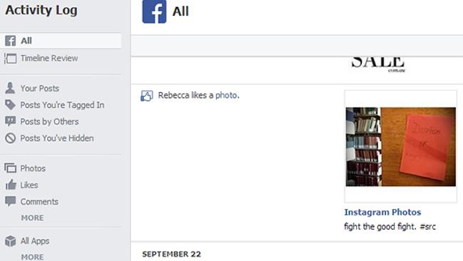 The activity log where you can view all your Facebook activity.