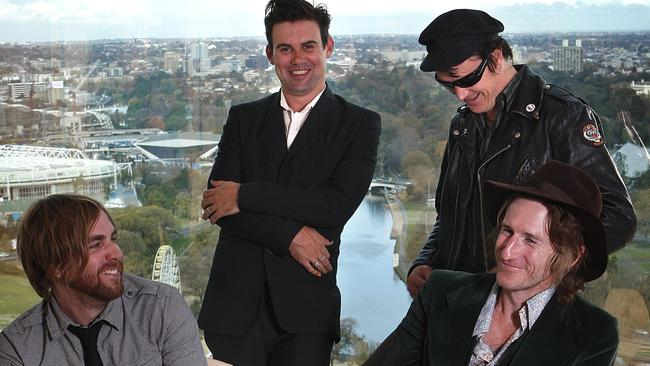 Brothers in arms ... Josh Pyke, Phil Jamieson, Chris Cheney and Tim Rogers celebrating the 40th anniversary of The White Album in 2009.