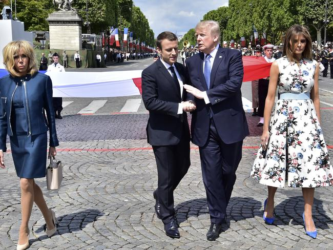 Trump pictured with French President Emmanuel Macron, First Lady Melania Trump, right, and Brigitte Macron, left. Many poll respondents don't trust his ability as a world leader. Picture: Christophe Archambault.
