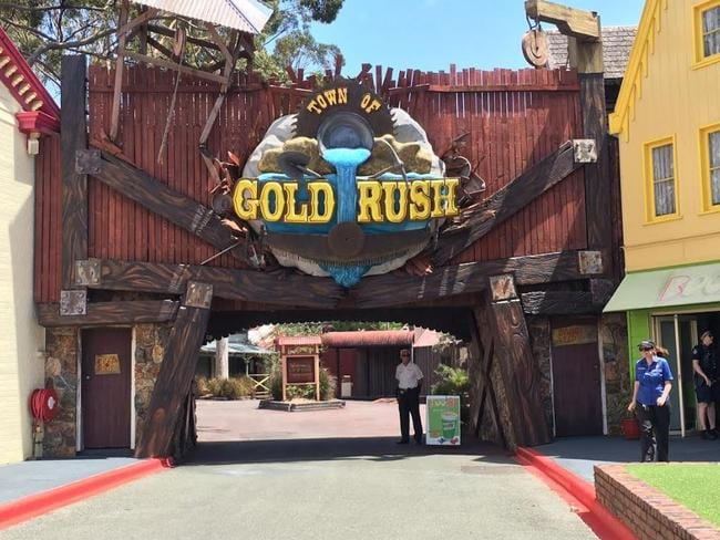 Entry to Dreamworld Town of Gold Rush where Thunder River Rapids is located.