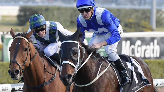 Winx produced a stunning finishing burst to reel in tearaway leader Red Excitement in the Chelmsford Stakes.