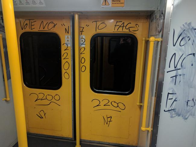 The graffiti pictured on a suburban Sydney train. Picture: ecarter6/imgur
