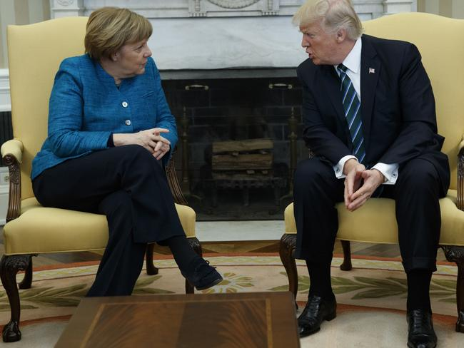 Mr Trump met with German Chancellor Angela Merkel in the Oval Office in March. Picture: Evan Vucci/AP