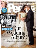 People Magazine feature the glamorous wedding of the loved-up couple, George Clooney and Amal Alamuddin, on their front page.