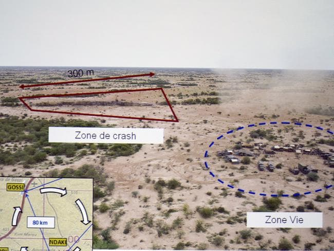 "Impact zone ... A French government document showing an aerial view of the crash site, marked ""Zone de crash"". Picture: Kenzo Tribouillard"