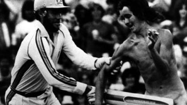 1979: Greg Chappell gives a cheeky fan a slap in the privates.
