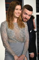 Jessica Biel, left, and Justin Timberlake arrive at the Vanity Fair Oscar Party on Sunday, Feb. 28, 2016, in Beverly Hills, Calif. Picture: Evan Agostini/Invision/AP