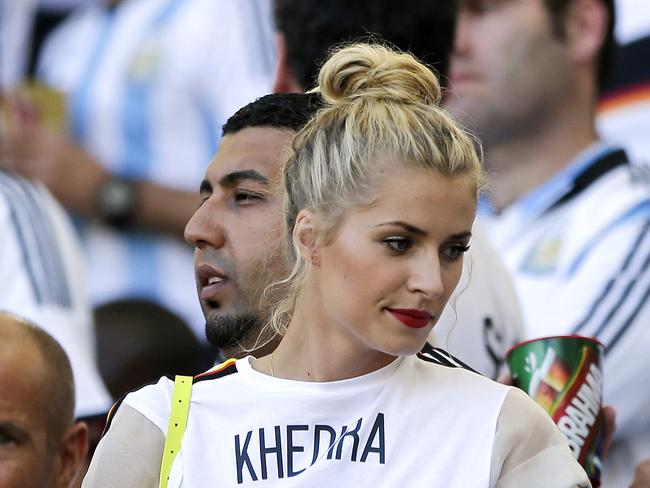 A disappointed Lena Gercke, the girlfriend of Germany's Sami Khedira, in stands at the Maracana Stadium.