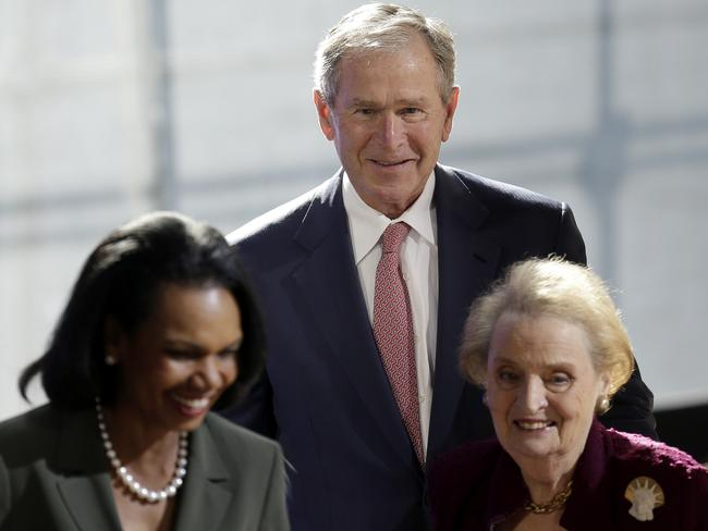 Former US President George W. Bush and former US Secretary of States Condoleezza Rice (left) and Madeline Albright (right) spoke at a forum sponsored by the George W. Bush Institute in New York. Picture: AP Photo/Seth Wenig