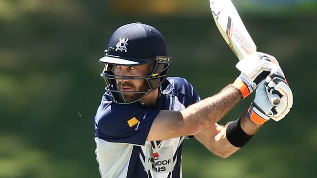 Glenn Maxwell in action for Victoria against Queensland on Tuesday.