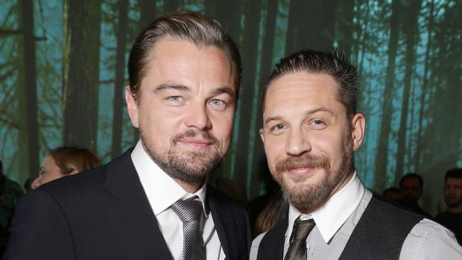 Friendly banter ... When asked on Leonardo DiCaprio's 'endurance', Tom Hardy joked I don't think there's any rest for the d---head'. Picture: Eric Charbonneau/Invision for Twentieth Century Fox/AP