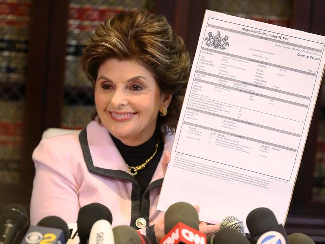 Fighting for justice... Gloria Allred speaks about the charges levied against the comedian. Picture: Getty
