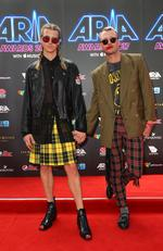 Christian Wilkins and Andrew Kelly arrive for the 31st Annual ARIA Awards 2017 at The Star on November 28, 2017 in Sydney, Australia. Picture: Lisa Maree Williams/Getty Images for ARIA