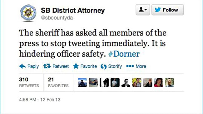 The police asked for the media to stop tweeting about the events, before deleting the tweet. Picture: Twitter