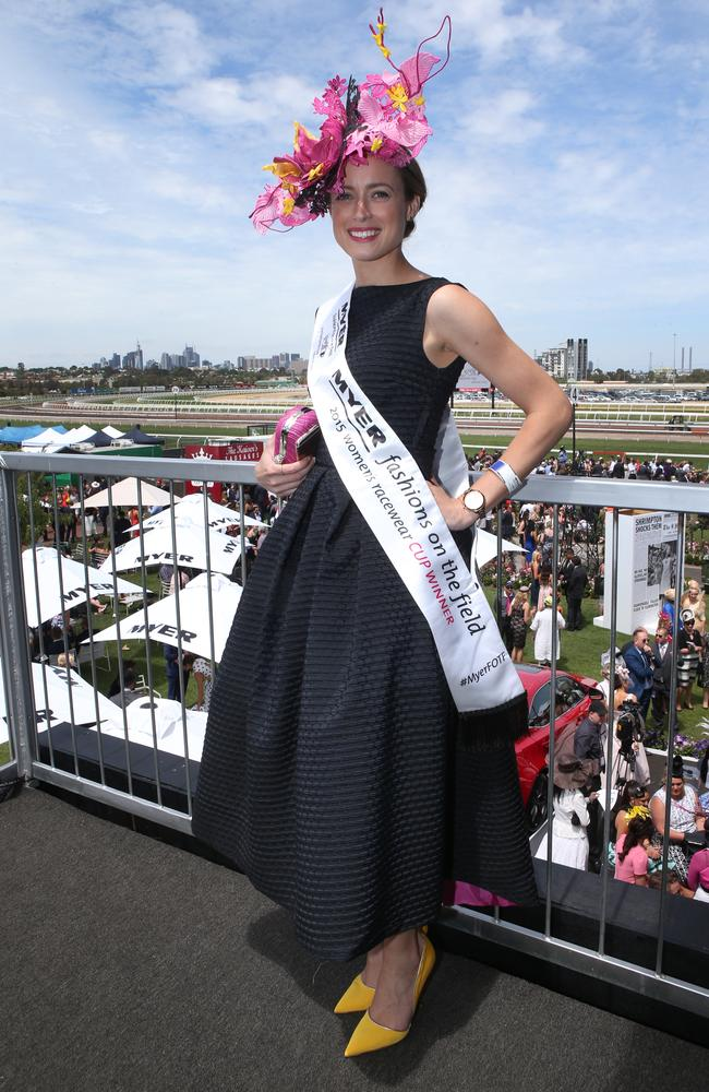 Emily Hunter was after a simple dress to compliment her hat. Picture: AAP Image/David Crosling.