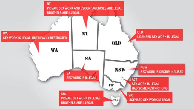 While sex work is legal across most of Australia, regulations vary wildly.