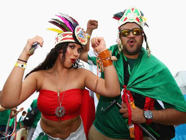 The Mexico fan on the right is batting well above his average.