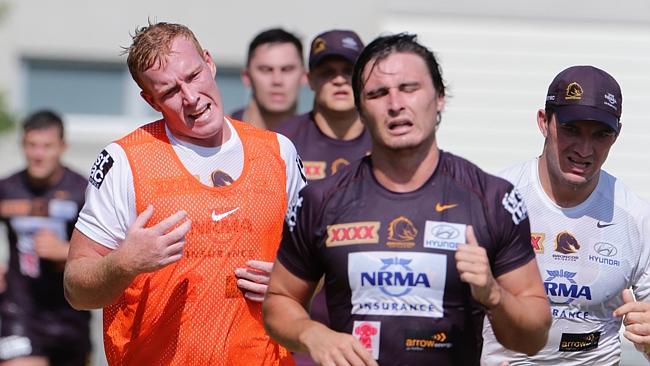 Lachlan Maranta (right) and Jack Reed doing it tough. Broncos training at Purtell Park Bardon.
