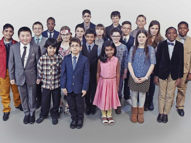 The contestants on reality show Child Genius. Jasamrit, David, Justin, Tyrell, Ieysaa, Daisy, Mika, Harrison, Julian, Raushan, Lewis, Neha, Beth, Jack, Giovanni, Sasha, Thomas, Holly, Ethan and Kale.