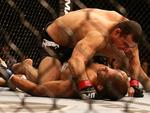 Brazilian Shogun Rua (black pants) in action during his knock out win over James Te Huna during the UFC event from Brisbane Entertainment Centre. Pics Adam Head