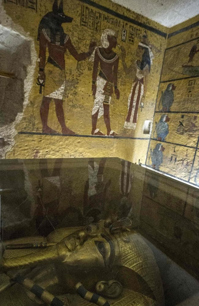 The golden sarcophagus of King Tutankhamun in his burial chamber at the Valley of the Kings. Radar scans of the tomb have revealed two previously undiscovered chambers, possibly containing organic material. Source: AFP