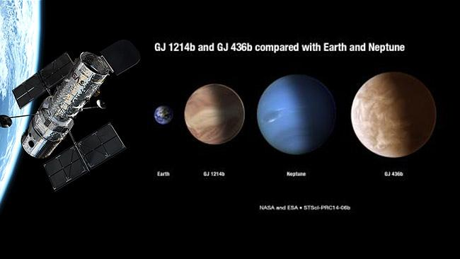How GJ 1214b and GJ436b stack-up against Earth and Neptune.