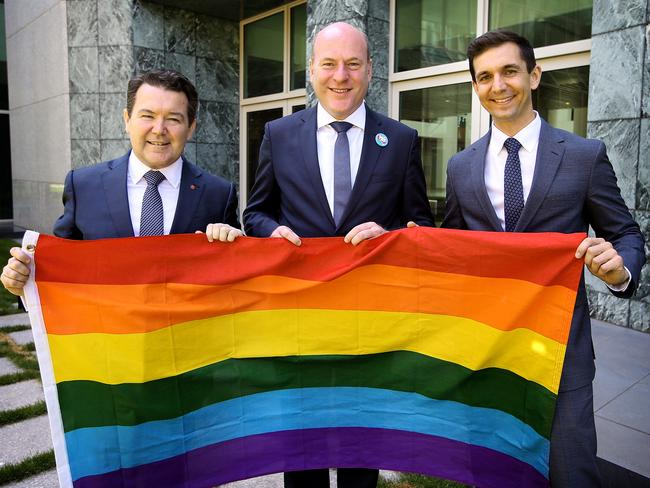Senator Dean Smith, Trent Zimmerman MP and Trevor Evans MP after the results of the Marriage Equality survey, at Parliament House in Canberra.