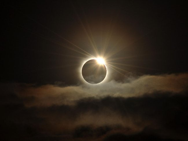 Wow! The first rays of sunlight, post totality, as the sun emerges during the total solar eclipse. Picture: John Flynn