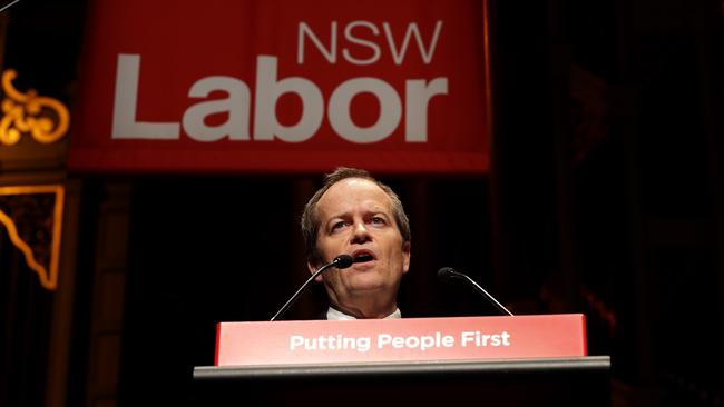 Labor leader Bill Shorten used the NSW Labor State Conference at Sydney Town Hall to attack Treasurer Joe Hockey's budget. Picture: Stephen Cooper