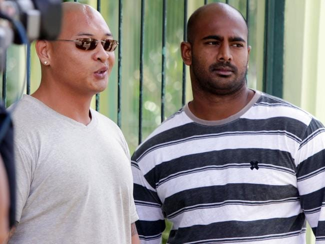 Andrew Chan and Myuran Sukumaran on death row at Kerobokan jail in 2011. Picture: Firdia Lisnawati.