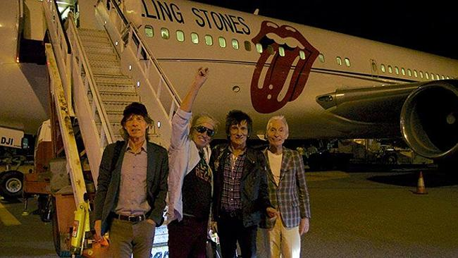 The Rolling Stones land in Australia earlier this week. Picture: Instagram