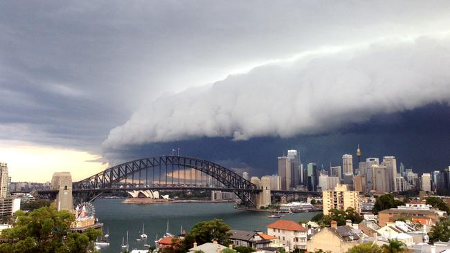 A less destructive squall line in 2014 over Sydney's CBD. Picture: Cassie Trotter/Getty Images.