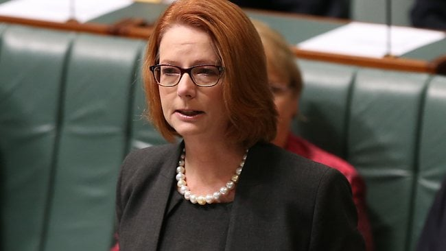 PM Julia Gillard gets emotional while speaking on the medicare levy bill in the House of Representatives Chamber, Parliament House in Canberra. Picture: Smith Kym