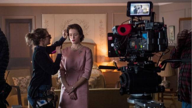 Claire Foy behind the scenes on 'The Crown' season 2. Photo: Netflix
